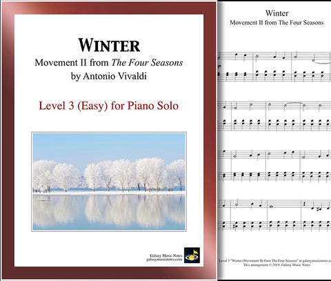 Winter - MVMT 2 by Vivaldi: Level 3 - 1st piano page & cover