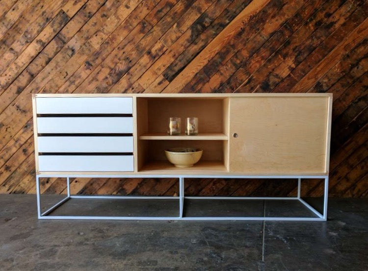 Custom Mid Century Style Wood Metal Base Credenza