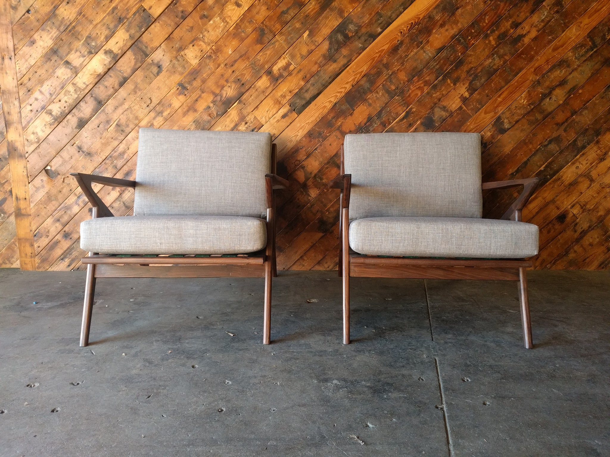 Mid Century Selig Style Walnut Chairs