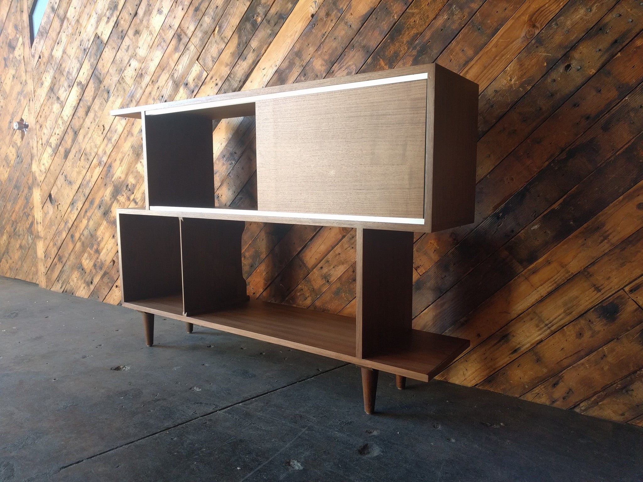 Mid Century Style Custom Walnut Zig Zag Shelf