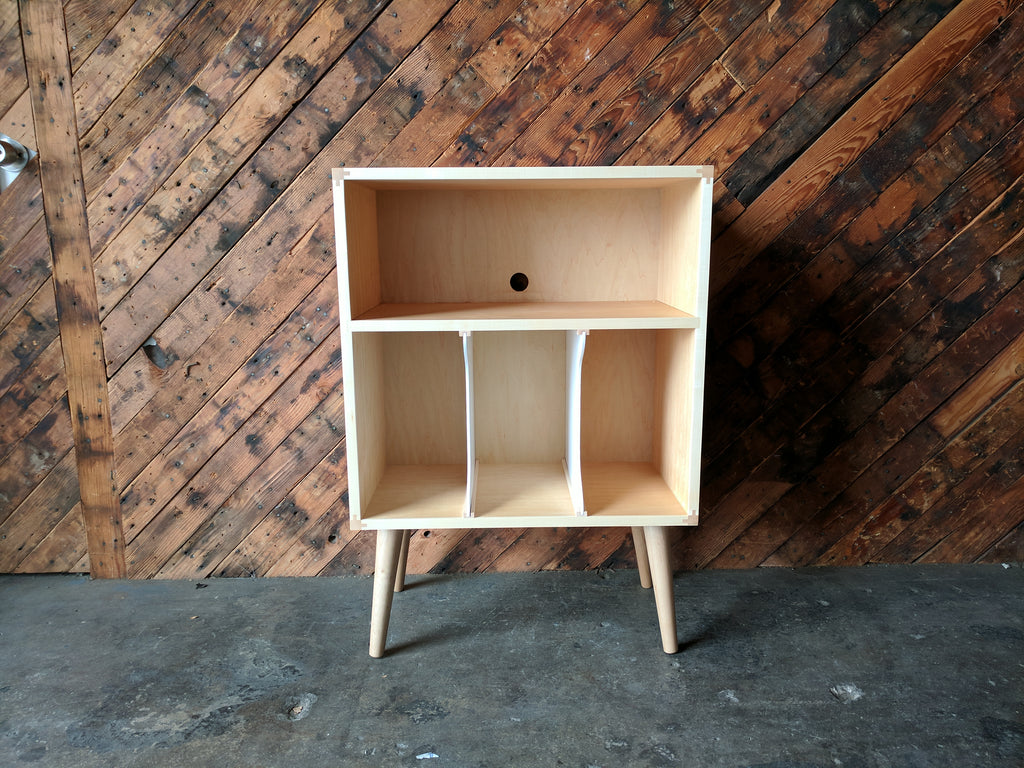 MID CENTURY STYLE MINI CREDENZA RECORD STAND IN MAPLE with media bay