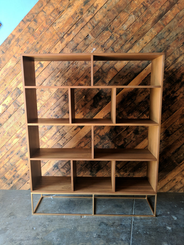 Custom Walnut Book/Record shelf with Brass Colored Metal Base, Mid Century Style with 10 bays