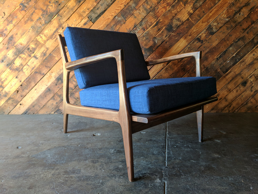 Mid Century Danish Style Walnut Lounge Chair