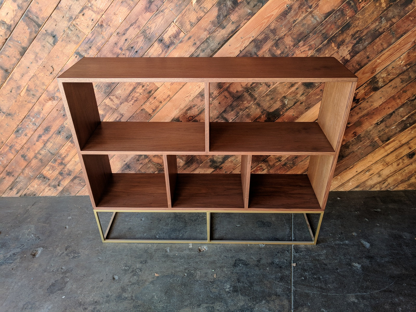Custom Walnut Book/Record shelf with Brass Colored Metal Base with 5 bays that fit records