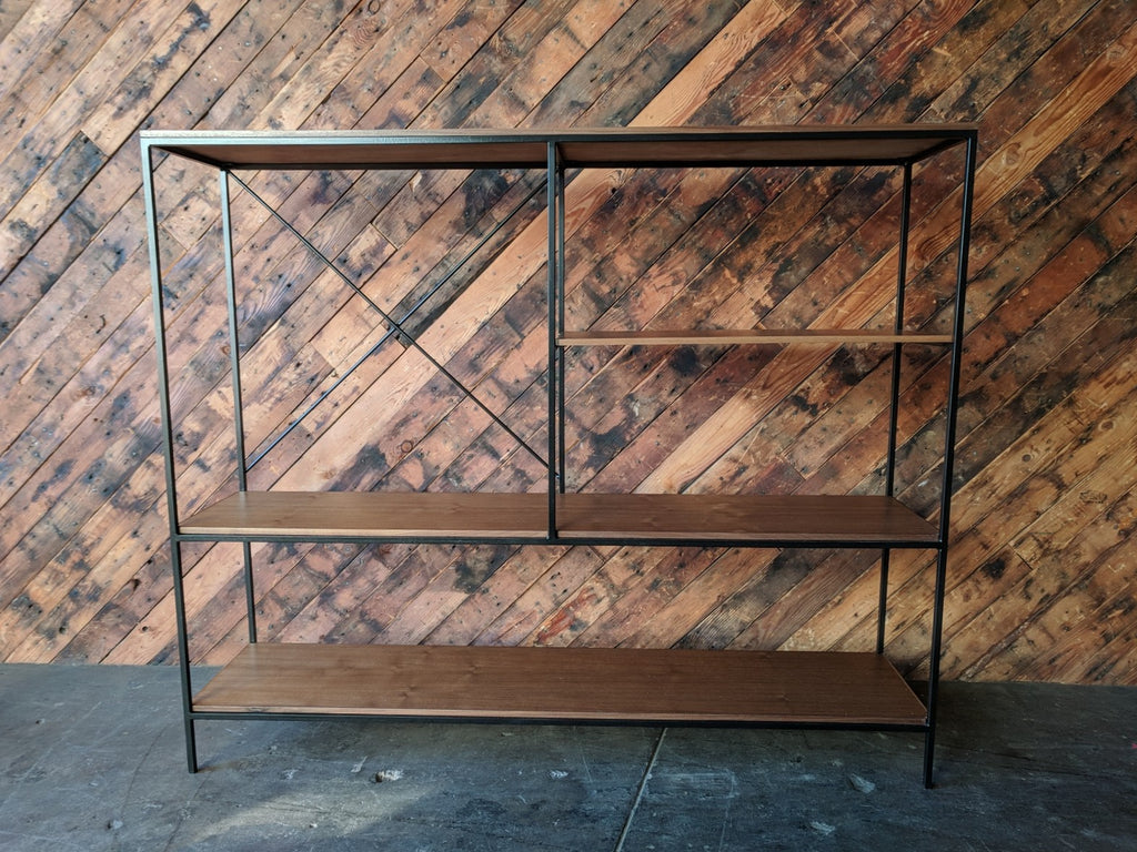 Mid Century Style Iron and Walnut Custom Made Bookshelf