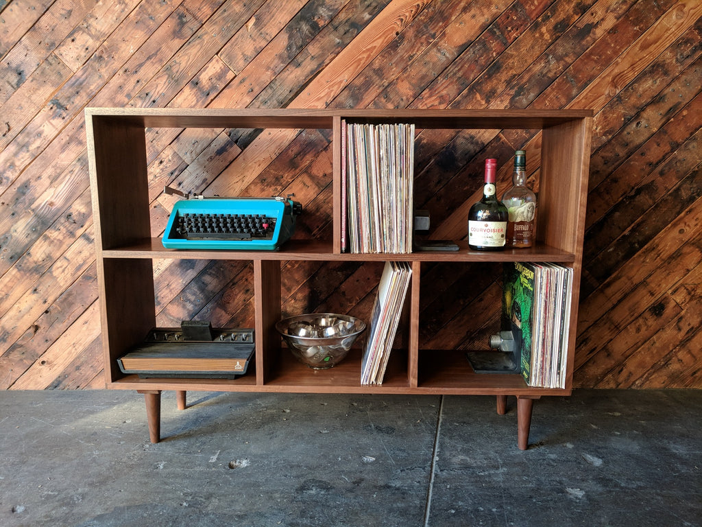 Custom Mid Century Style Walnut Book Record Shelf with 5 bays that fit records