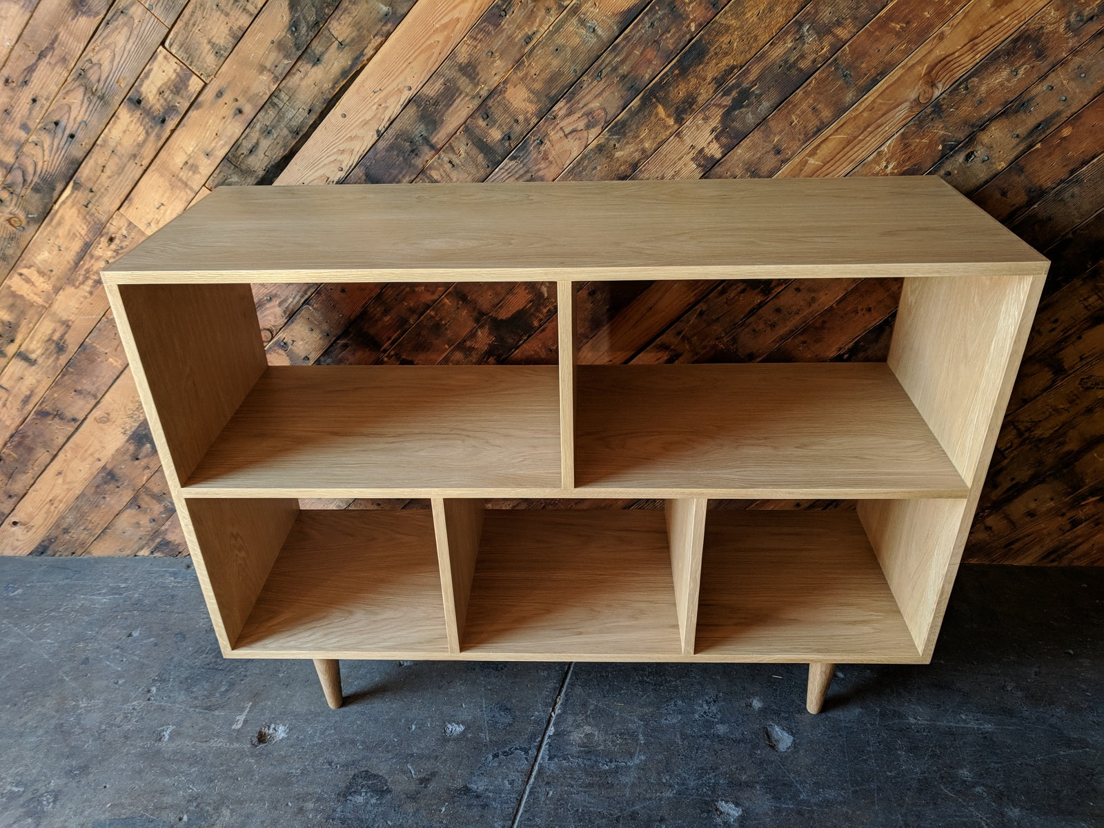Custom Mid Century Style White Oak Book Record Shelf with 5 bays that fit records
