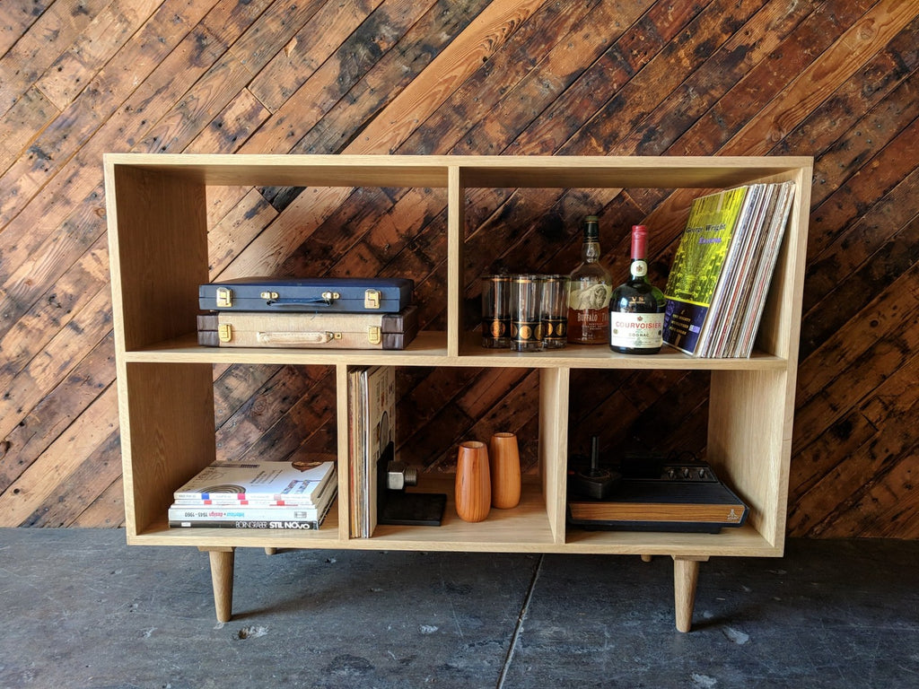 Custom Mid Century Style White Oak Book Record Shelf
