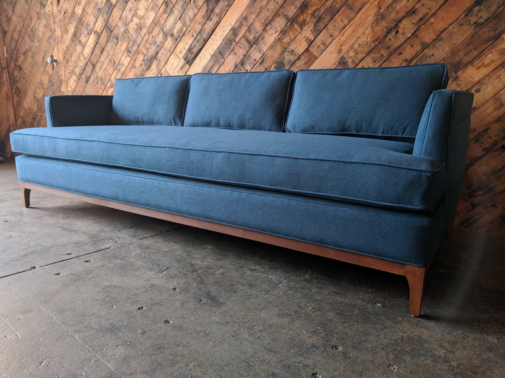 Mid Century Style Custom Sofa in Deep Sea