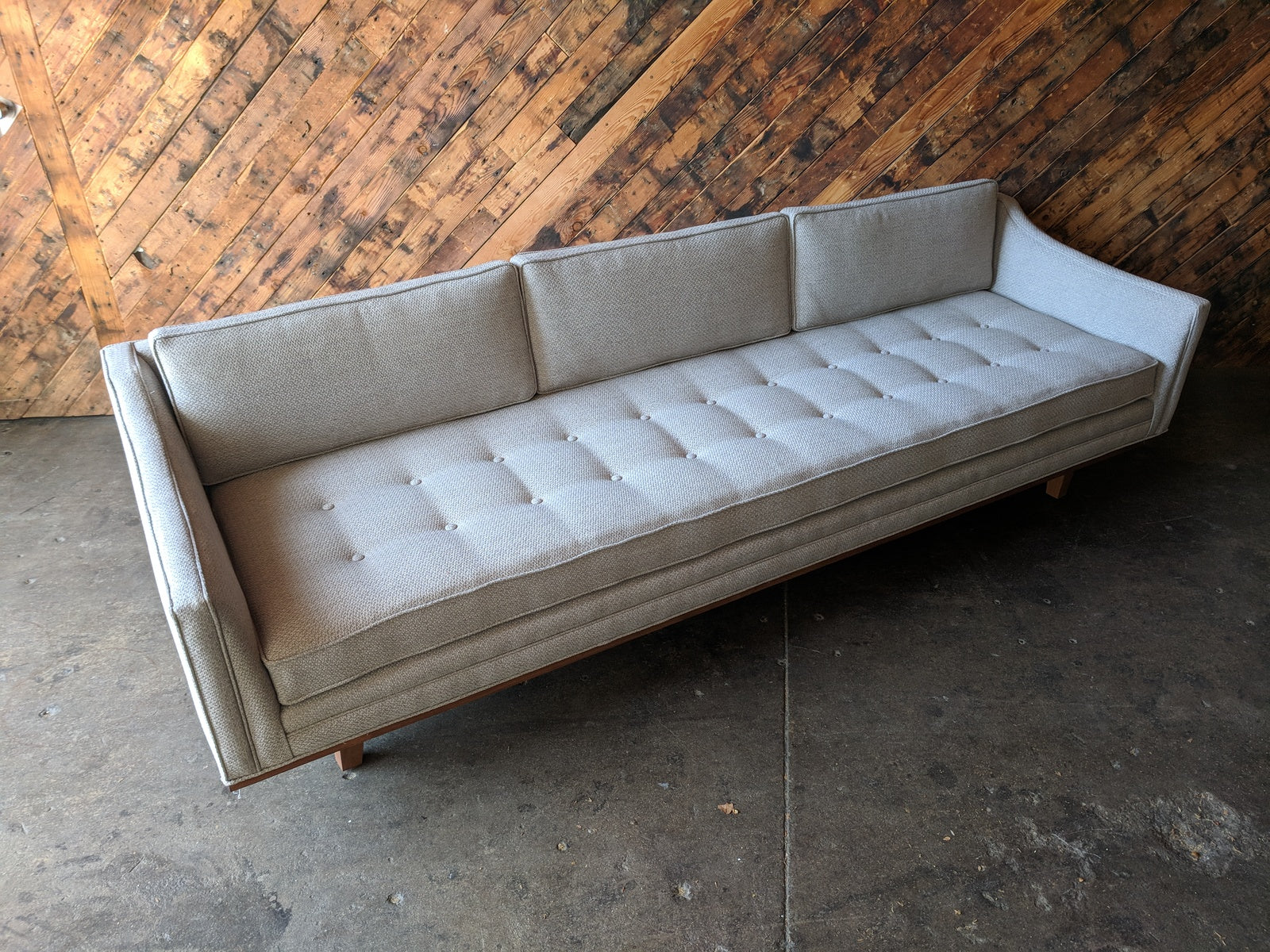 Mid Century Style Cream Sofa with Walnut Trim
