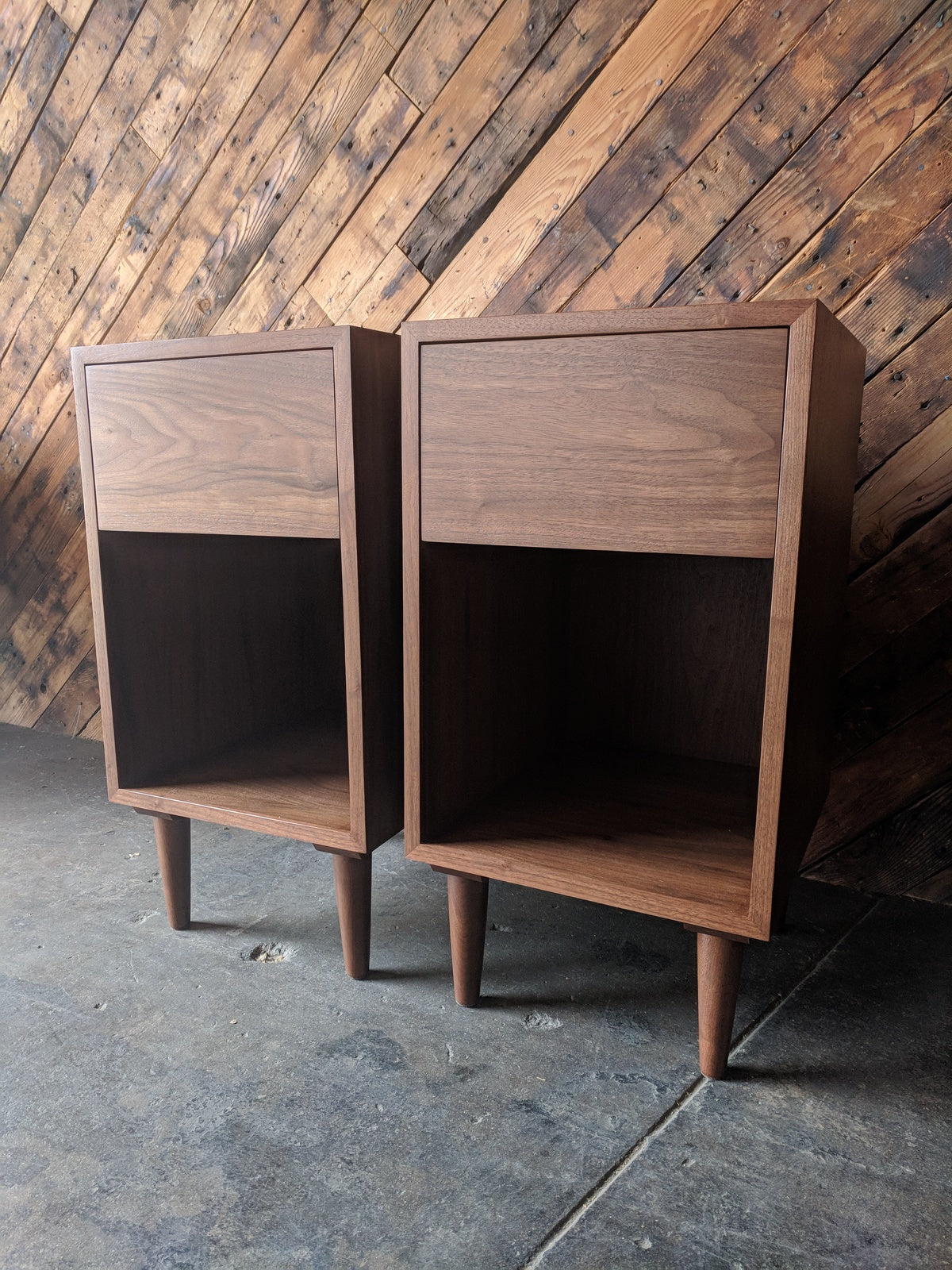 Custom Pair of mid century style night stands, very tall and with large drawer