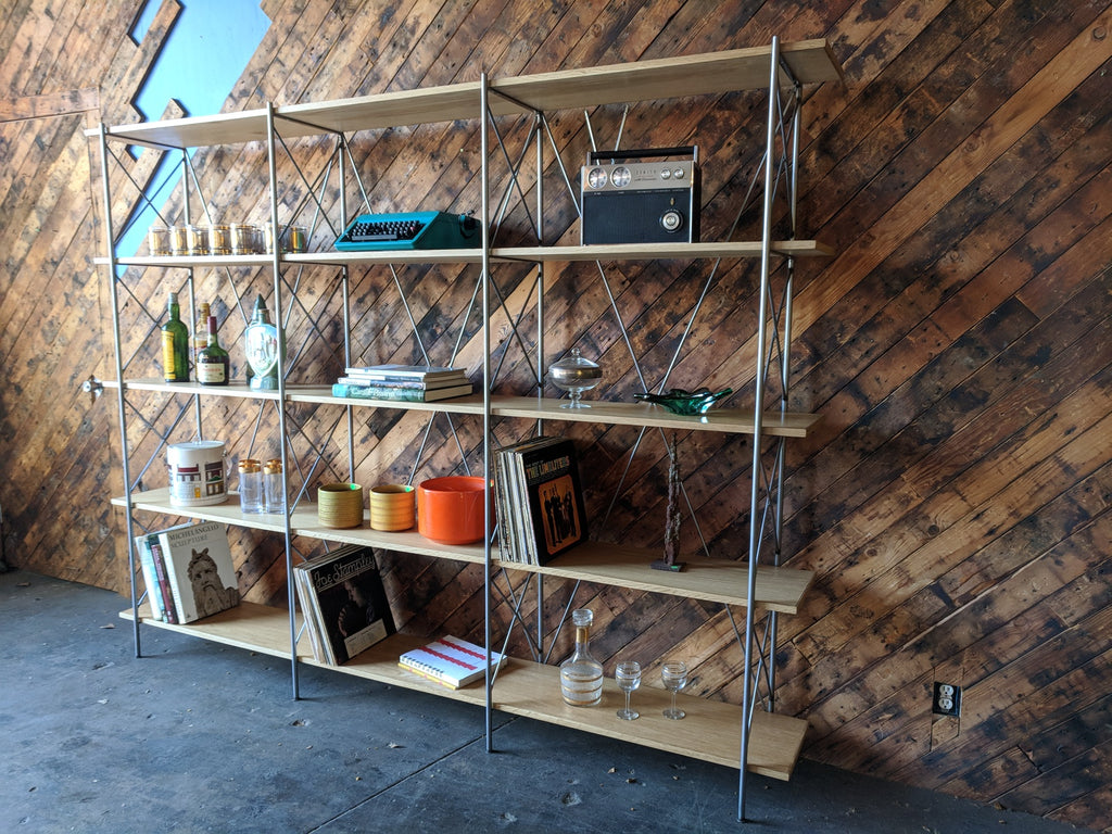 Amazing Oak and Steel Custom Newly Made Book Shelf with 4 levels
