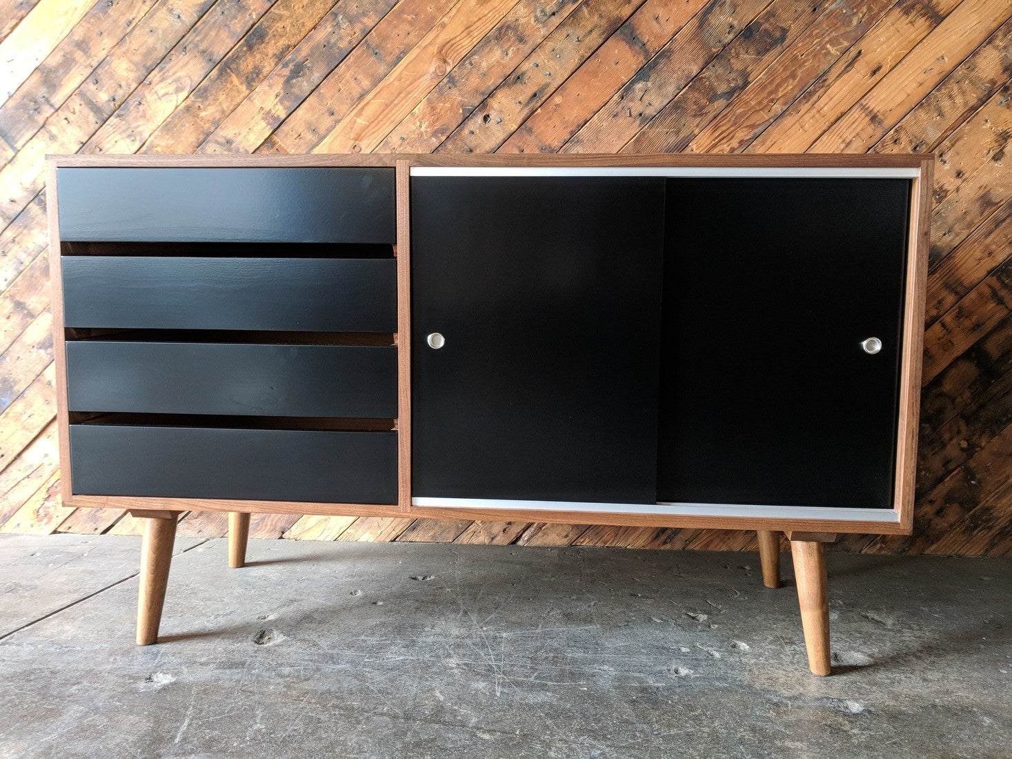 Mid Century Style Custom Small Credenza with 4 drawers and sliding doors