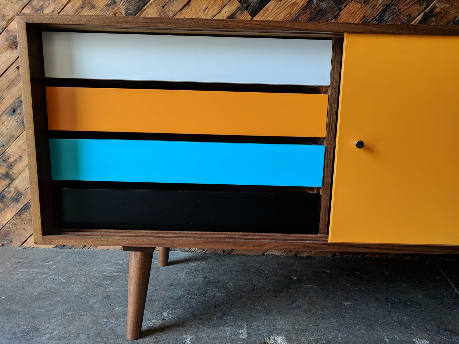 Mid Century Style Custom Walnut Credenza 4 painted drawers and wooden track