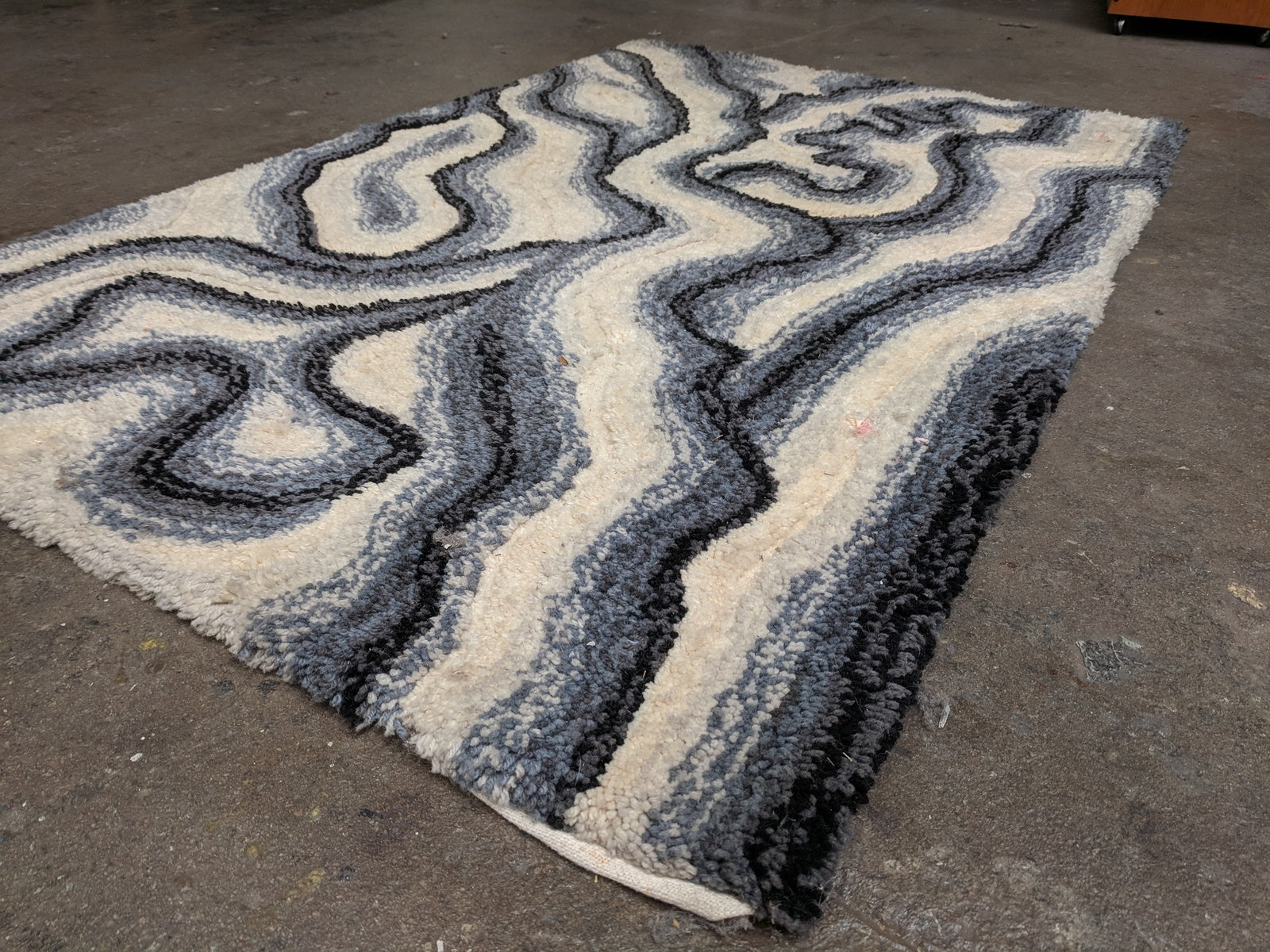 Mid Century White, Grey and Black Scandinavian Wool Rug with abstract Pattern