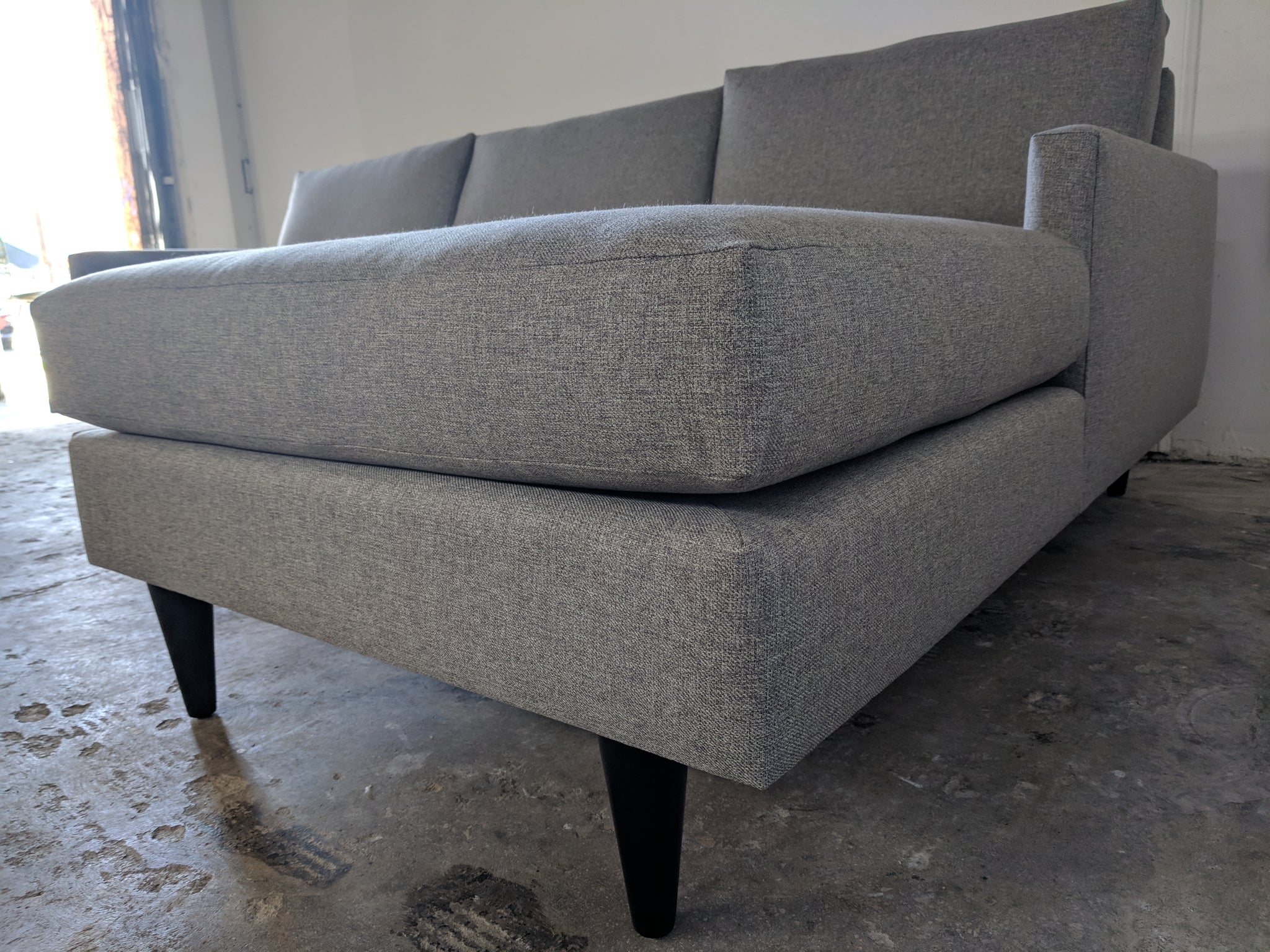 Contemporary Sofa inspired by Mid Century Lines.  Newly Made to Order in Los Angeles