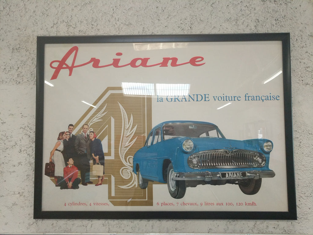 Vintage French Ariane automobile poster, 1960s. Perfect for the car enthusiast in your life. Framed. Very rare.