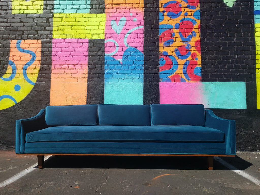 Mid Century Style Blue Velvet Sofa with Walnut Trim