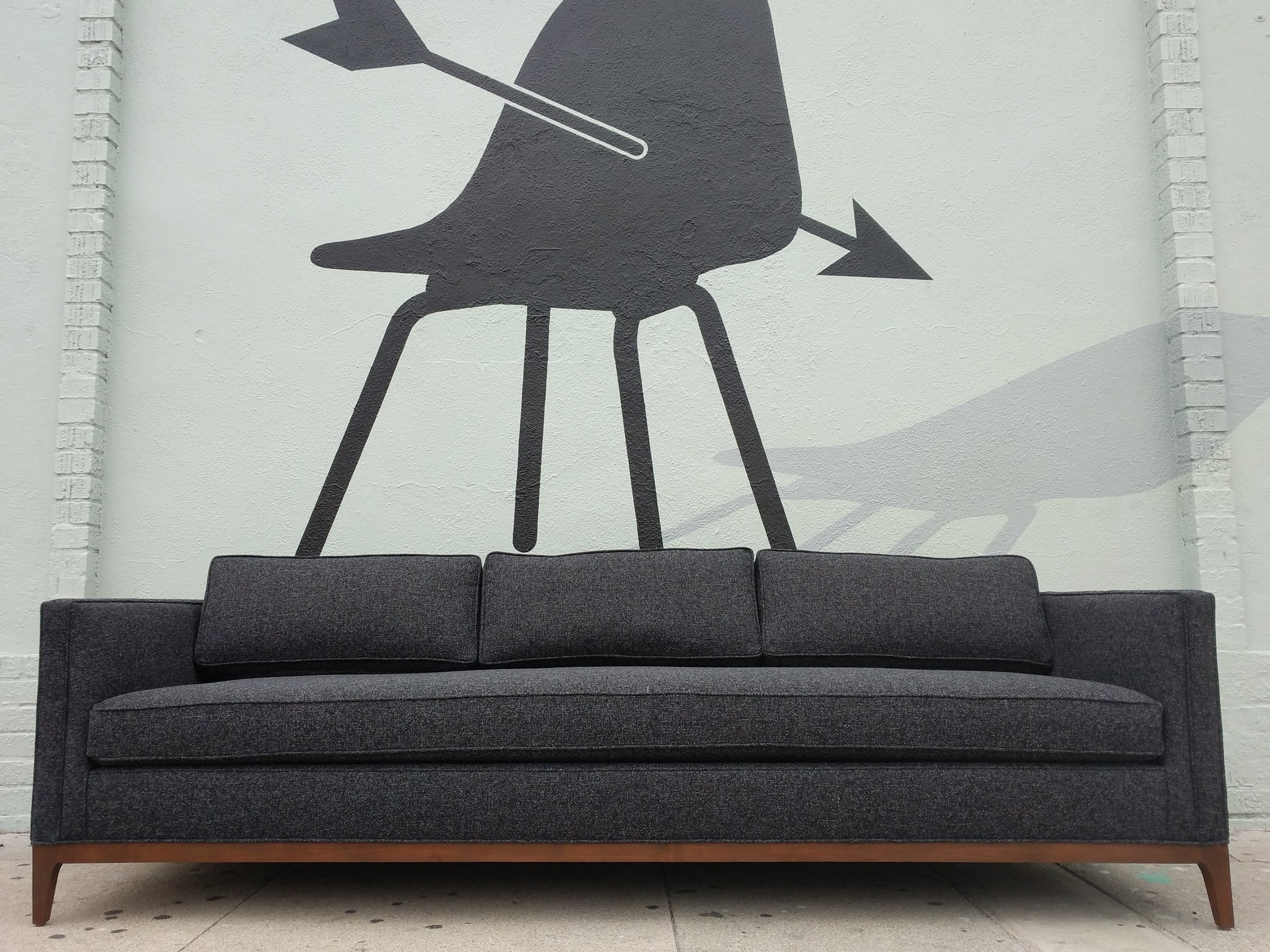 Mid Century Style Custom Sofa In Dark Charcoal Tweed Fabric