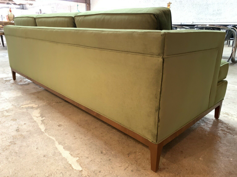 Mid Century Style Custom Sofa in beautiful Green Velvet