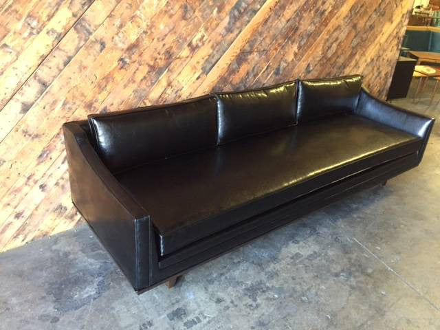 Mid Century Style Black Vinyl Sofa with Walnut Trim
