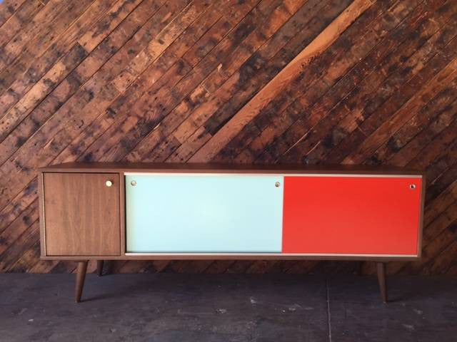 Mid Century Style Custom Mint Orange Credenza