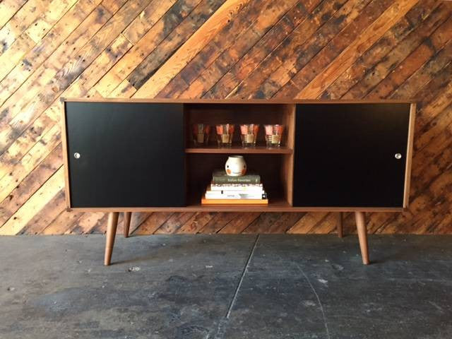 Custom Mid Century Style Walnut Two Door Credenza