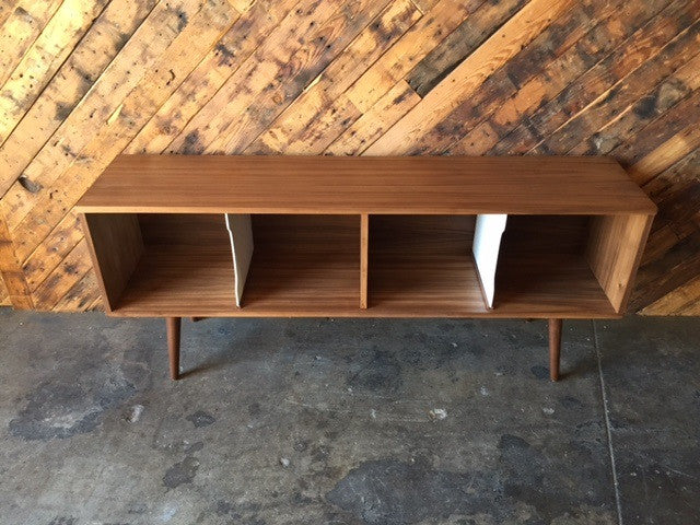Mid Century Style Record Cabinet Credenza with 4 bays