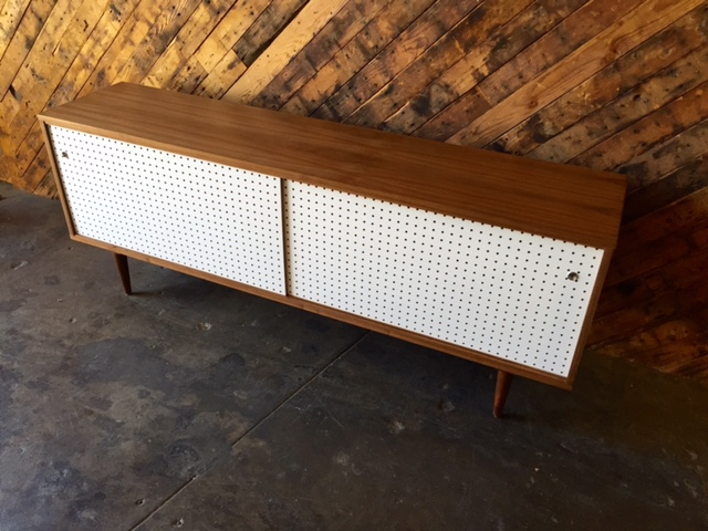Mid Century Style Custom Walnut Perforated Door Credenza 3 bays only