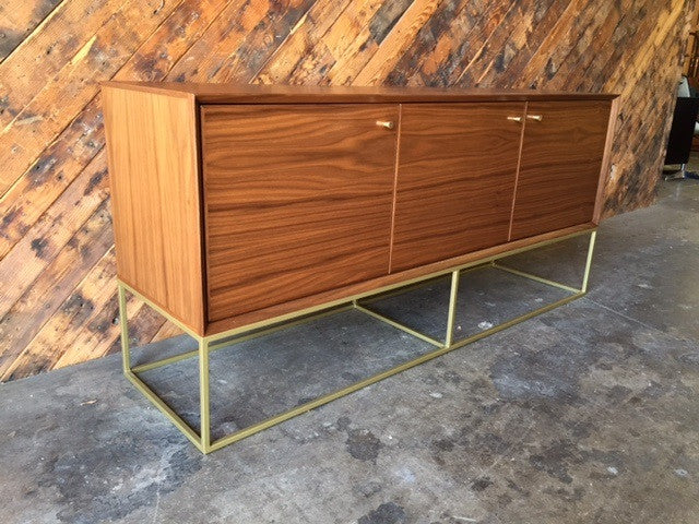 Custom Handmade Walnut Brass Base Credenza, Mid Century Style with swing out doors
