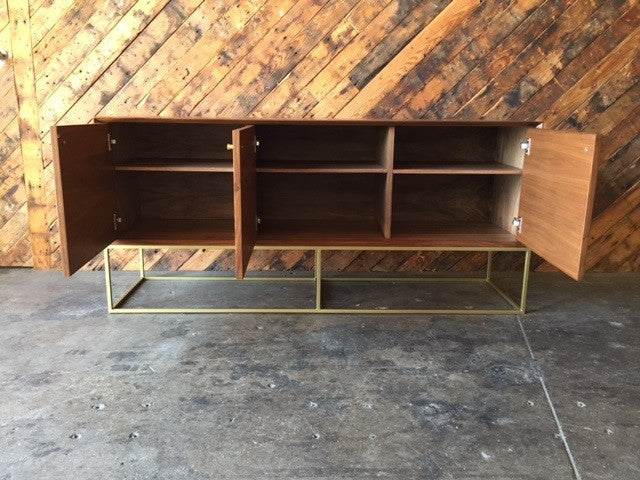 Custom Handmade Walnut Brass Base Credenza