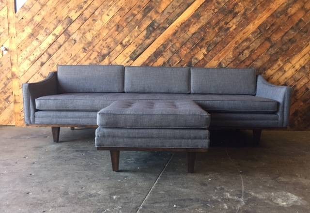 Mid Century Style Custom Sofa with Ottoman