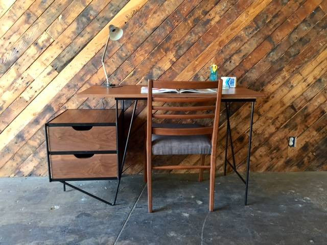 Custom Mid Century Style Walnut Wrought Iron Desk