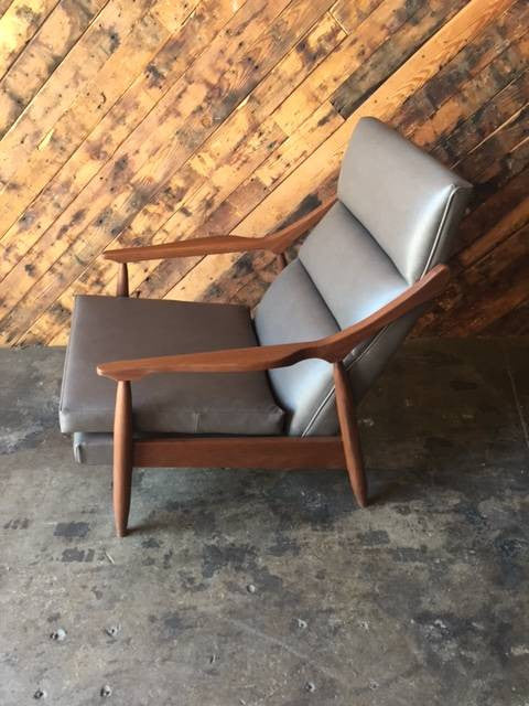 Custom Danish Mid Century Style Vinyl Lounge Chair