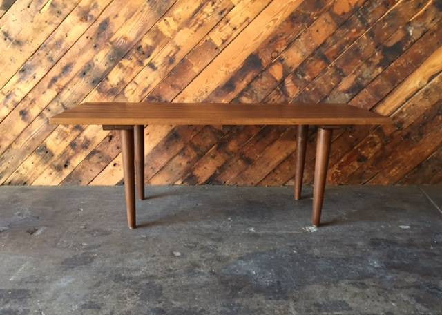 Custom Mid Century Style Walnut Slab Bench Table