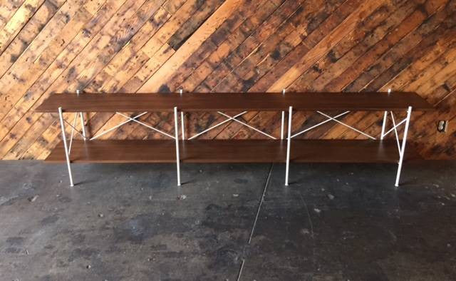 Custom Hand Made Iron Walnut Shelf, Mid Century Style