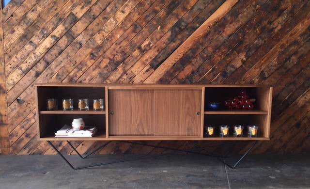 Custom Walnut Wrought Iron Base Sculptural Credenza, Mid Century Style with 3 bays and 2 sliding doors