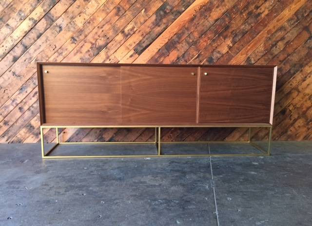 Custom Handmade Walnut Brass Base Sliding Door Credenza