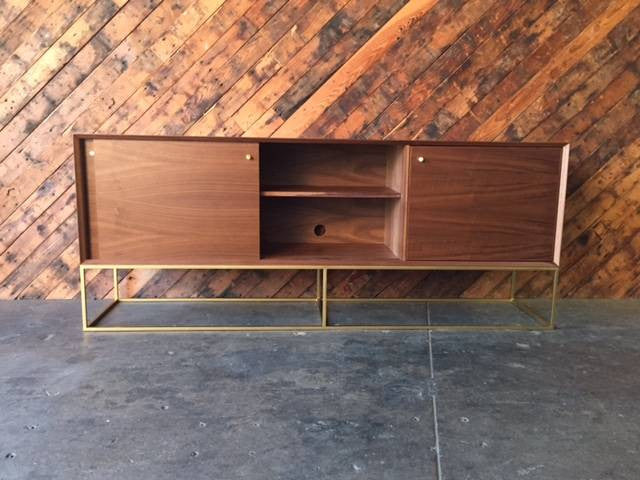 Custom Handmade Walnut Brass Base Sliding Door Credenza, Mid Century Style