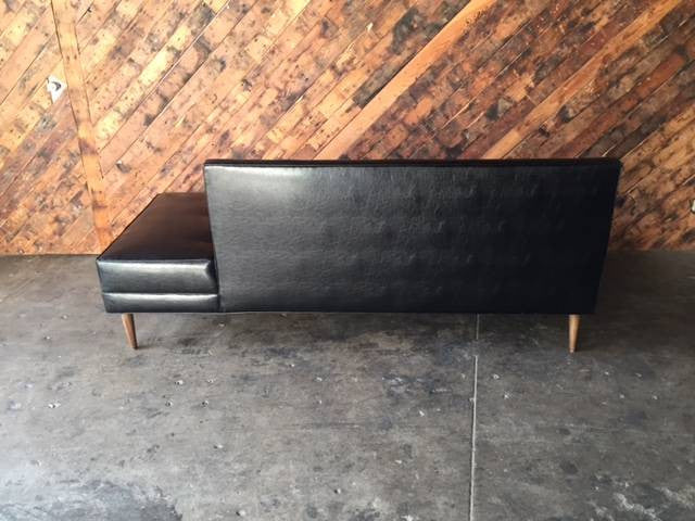 Mid Century Style Custom Black Vinyl Day Bed Sofa
