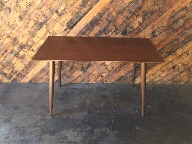 Custom Mid Century Style Walnut Console Work Table