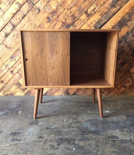 Mid Century Style Custom Walnut Bar Record Cabinet with sliding doors and no shelves