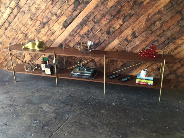 Mid Century Style Walnut Wrought Iron Long Shelf