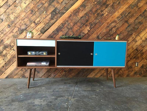 Custom designed credenza / media console, Mid Century Style with 1 drawer and painted doors