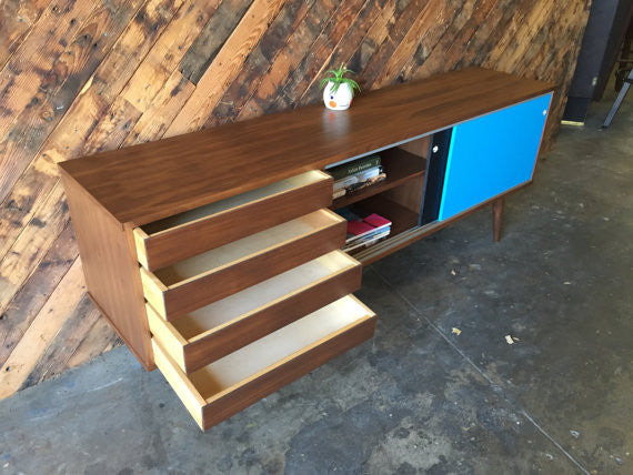 Custom mid century style credenza with 4 drawers and metal track