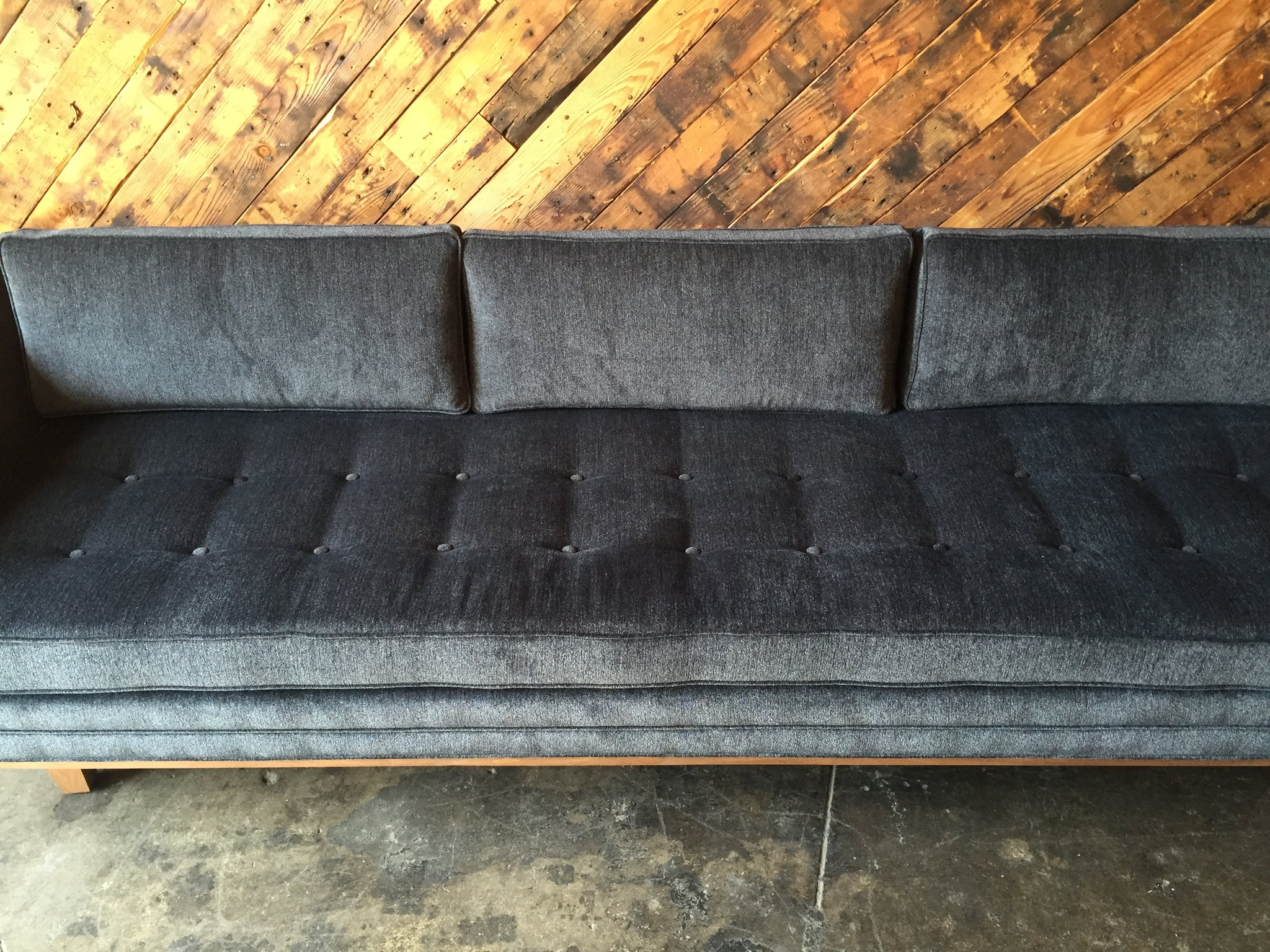Mid Century Style Custom Walnut Trim Sofa