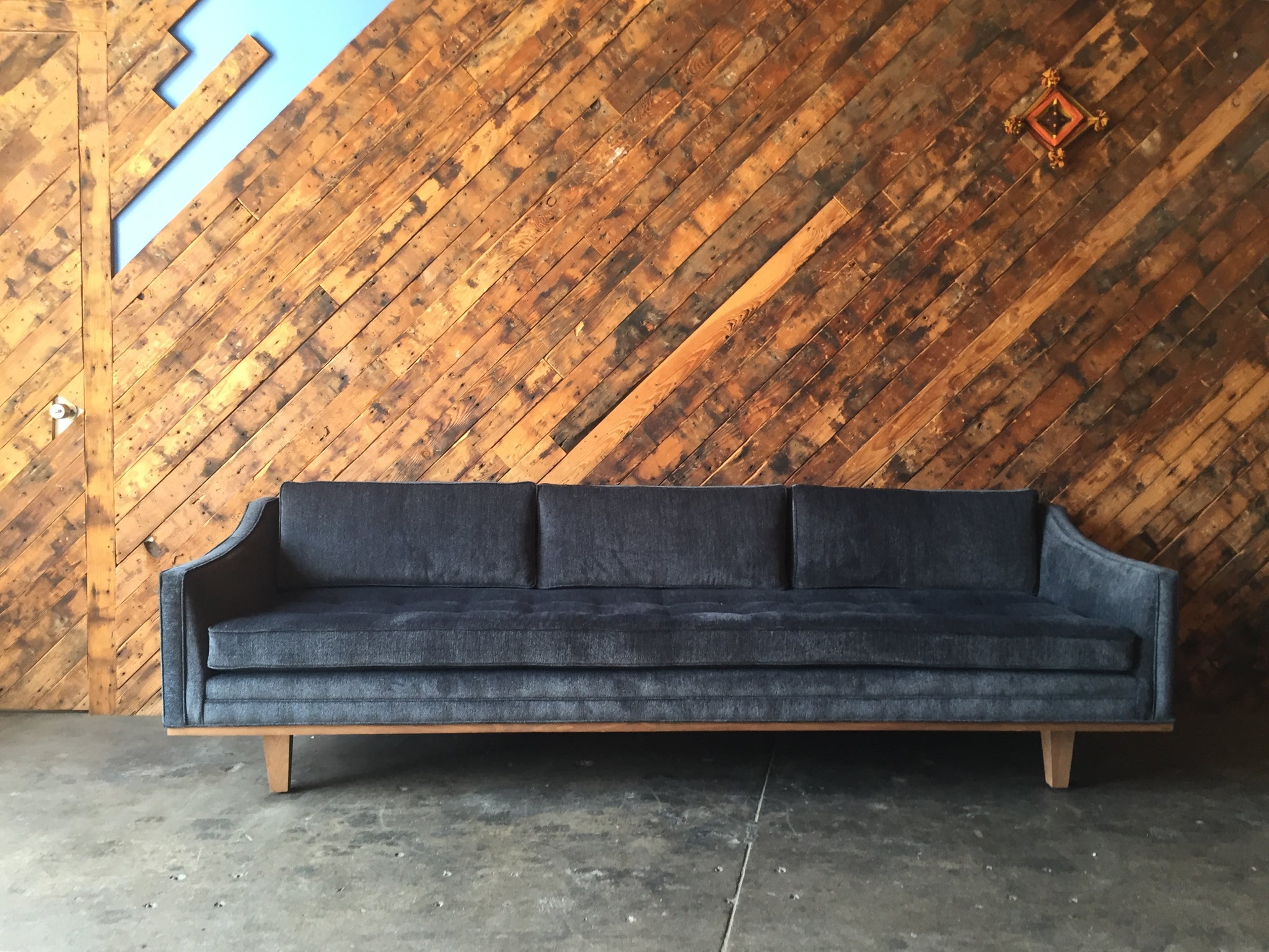 Mid Century Style Custom Walnut Trim Sofa – The Hunt Vintage