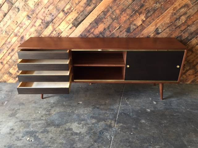 Mid Century Style Custom Walnut Brass Credenza with brass track and 4 black doors