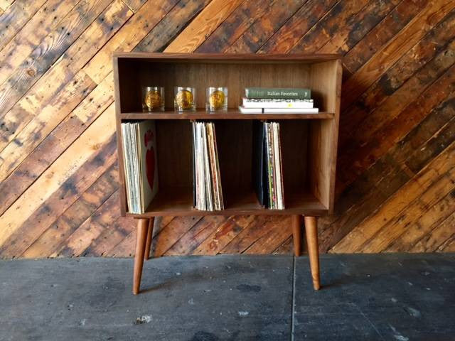 Mid Century Style Walnut Credenza Record Stand