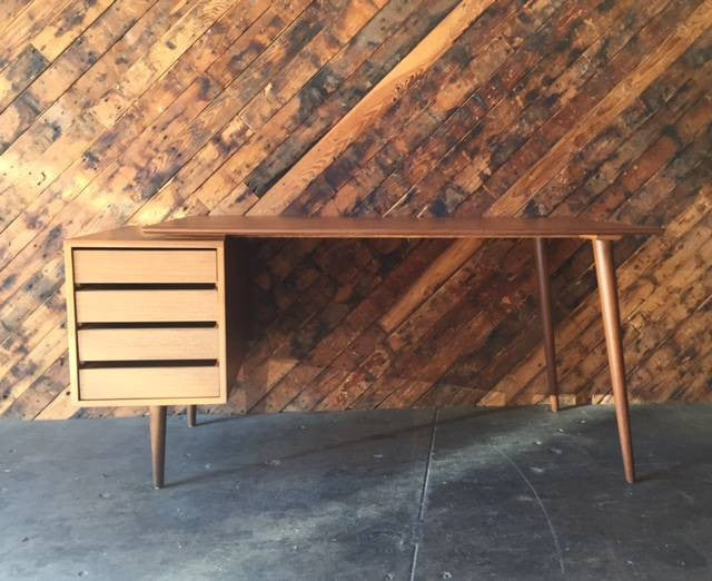 Custom Large Mid Century Style Walnut Desk
